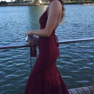 Studio Minc Maroon Mythical Formal Dress